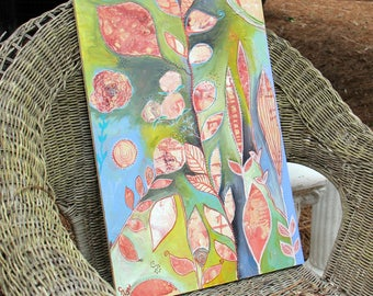 Original Modern Art Intuitive Painting by Carol Iyer Peach Green Wall Decor