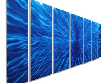 Extra Large Modern Metal Wall Art Sculpture In Blue, Abstract Metal Painting, Huge Contemporary Wall Decor - Arctic Blast XL by Jon Allen