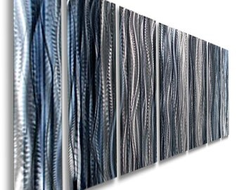 Large Blue, Silver & BlackMulti Panel Modern Metal Wall Art, Contemporary Wall Sculpture, Indoor Wall Decor - Ashen by Jon Allen