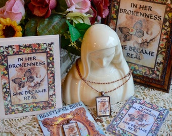 IN HER BROKENNESS GiFT SeT pendant vintage inspirational healing woman recovery greeting card atc 5x7 print collage