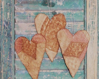 Rustic Heart Ornaments, Primitive Hearts, Farmhouse Decor, Vintage Quilt, Tattered Hearts, Pink Tan Grungy White, WORN OUT - Ready to Ship