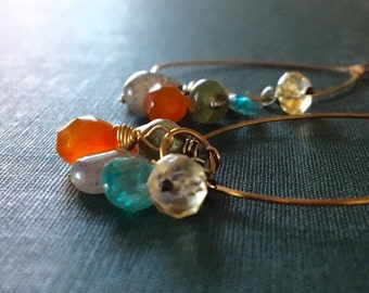 Gemstone Earrings, Bohemian Earrings, Labradorite Earrings, Citrine Earrings, Cluster Earrings, Mixed Metal Earrings