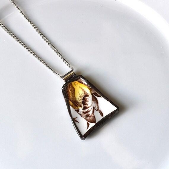 Broken China Jewelry Pendant - Yellow Flower