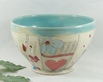 Hearts and Flowers Ceramic soup bowl with owl, housewarming gift, ceramics and pottery, kitchen serving bowl, salad bowl, cereal bowl 752