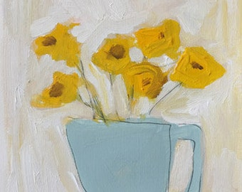 yellow flowers painting yellow and blue original painting on art paper 9x12 contemporary art hygge design