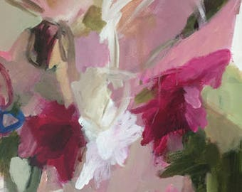 abstract painting floral abstract pink abstract pink and green contemporary art
