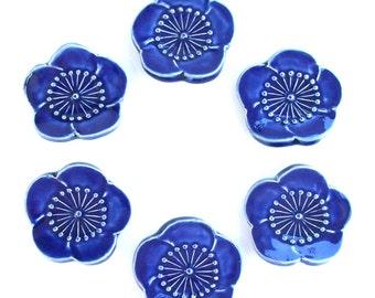 Beautiful Ceramic ChopStick/ Pen Rests, Hand Made, Set of Six Hand Made Blue Peach Blossom
