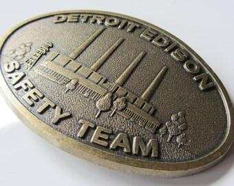 Vintage Detroit Edison Safety Team Belt Buckle - 1970's