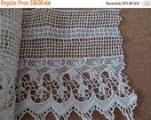CLEARANCE - White wide trellis floral lace, 5.75 x 66 inches