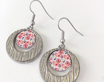 Dangle earrings | Red flowers and other blooms print | Gift for her