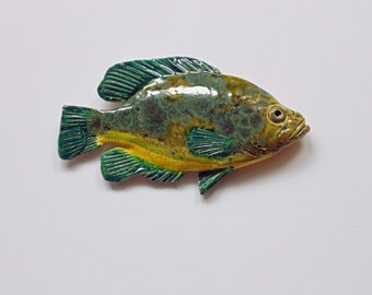 Rock Bass Ceramic fish art decorative wall hanging