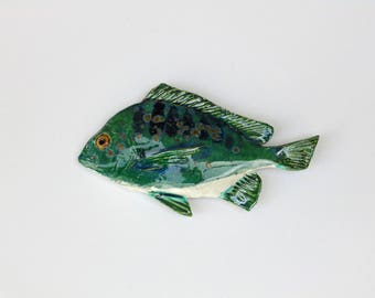 Ceramic fish art Scup decorative wall hanging