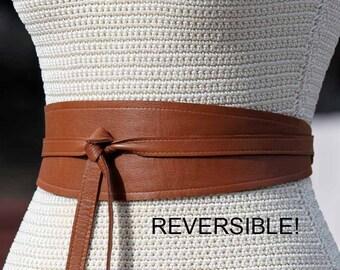 REVERSIBLE Leather Belt obi Wrap Sash - Warm Camel Brown / Caramel - XS S M L Petite & Plus Size - choose bonus fabric print for reverse