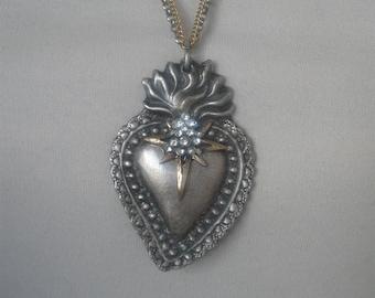 Sacred Heart, ex voto, repurposed vintage, rhinestone, religious, upcycled, rosary medal, boho, asymmetric, side clasp, Catholic, recycled