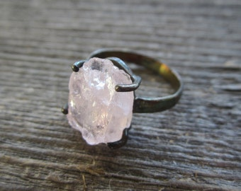 Rose Quartz Ring.  Rough Rose Quartz Ring.  Rose Pink Quartz Ring. Oxidized Silver. Size 8.