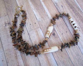 Bone and tiger iron necklace with stone chip, beaded in brown earth tones / brown stone chip and patterned bone, tiger iron, wood jewelry