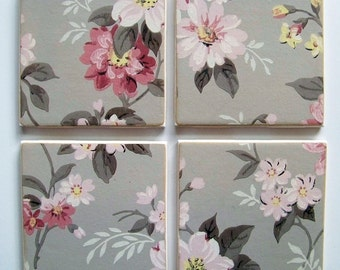 Vintage Wallpaper Coasters - Pink & Gray Floral