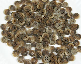 Vintage Buttons, Brown Shaded,  4 hole,  7/16 inch to 1/2 inch, 150+ pieces