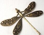 10% OFF SALE Brass Dragonfly 50x39mm Antique Gold - Brass Ox (G - 689)