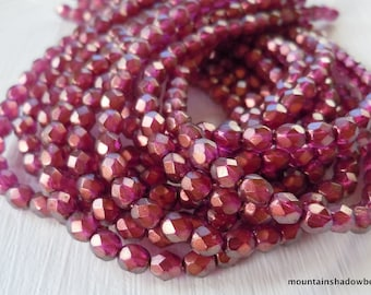 Czech 4mm Beads  - Halo Madder Rose  Czech Glass Beads Faceted Firepolished Round - 50 pcs