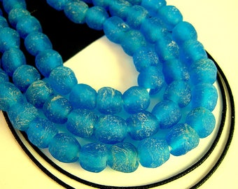 FULL Strand, Rustic Blue Recycled Glass Beads, 8mm, Azure Blue African Beads, Blue Matte African Recycled Beads, Responsibly Sourced RE11R