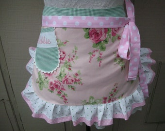 Aprons  - Monogrammed Aprons - Wedding Party Aprons - Cottage Chic Apron - Rose Apron - Etsy Apron - Shabby Chic Apron - Annies Attic Aprons