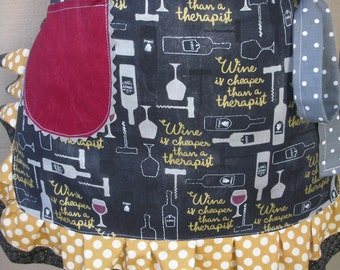 Aprons - Wine Aprons - Aprons Made With Wine Themed Fabrics - Annies Attic Aprons - Etsy Aprons - Wine Is Cheaper Than A Therapist Apron