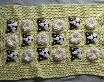 Baby Blanket Pattern - Boston Terrier Lace and Flowers Baby Afghan Crochet Pattern- Baby Crochet Pattern - Baby Afghan - Digital Download