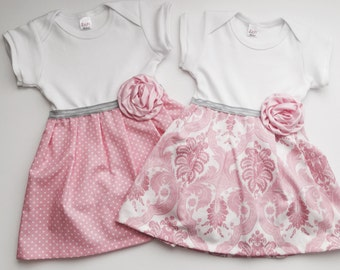 One piece DRESS.. Or for Both for Twins ..in Polka dots OR pink damask ..girls clothing..