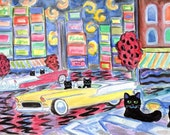 ORIGINAL PAINTING, Black Cats racing Their 55 Chevys around Times Square on a Warm Summer Night, by DM Laughlin