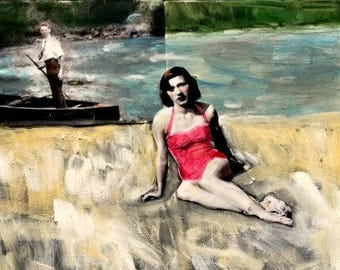 vintage woman  sunbathing  acrylic mixed media  large painting
