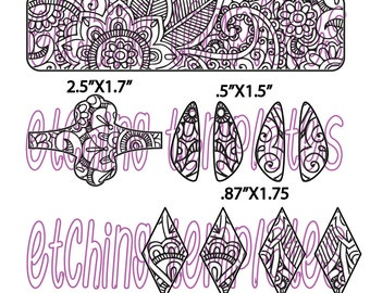 Digital Pattern for Etching Floral Cuff Bracelets, Earrings, 123-3321-1