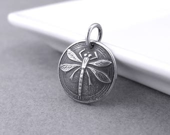 Dragonfly Pendant Silver Dragonfly Charm Sterling Silver Charm Add On Pendant Interchangeable Charm Silver Charm Only