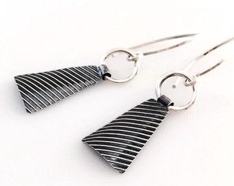 Lucie Industrial Earrings - Silver Dangle Triangle Earrings Handmade by Queens Metal