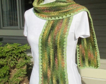 Women's hand crochet scarf, winter scarf, long scarf, pashmina scarf, ombre scarf in shades of green and orange tonal colors.