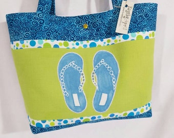 Summer Beach Flip Flops purse tote Bags by April