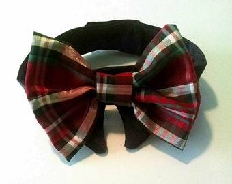 Dog or Cat Bow Tie :Photo Prop Red Green Black  Plaid miascloset Christmas Holiday Bow