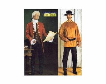 Mens 18th Century Clothes Costume Coat Shirt Stock Butterick 3896 Sewing Pattern Size XS - S - M UNCUT