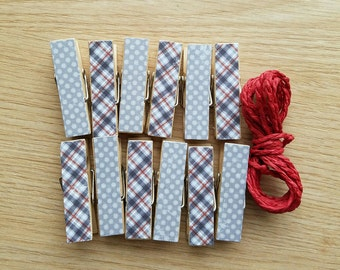 Manly Gray Plaid and Polkadots Clips w Twine for Photo Display - Chunky Little Clothespin Set of 12 - Great for Little Dudes