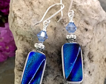 Beautiful Blue Dichroic Glass Earrings .. Wire Wrapped Sterling Silver Hooks