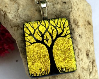 SALE Dichroic Glass Pendant   Hand Etched Tree - Studio Clearance