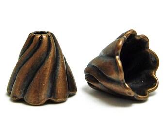 Tassel Caps - Copper Bead Caps - Antique Copper - End Caps - Large Tassel Caps - 12x13mm - 4pc (4372)