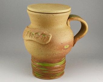 Ceramic Travel Mug, Words Travel Mug, Car Mug, Unique Car Mug, Coffee Car Mug, Brown Car Mug, Brown and Green Car Mug, Stoneware Car Mug