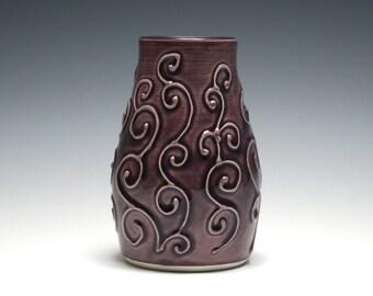 Purple Bud Vase, Small Purple Vase, Swirl Design, Gift for Her, Dusty Purple