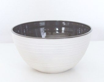 Handmade Porcelain Bowl Grey SALE - Groove Bowl in Grey second - Rustic Modern Pottery Bowl