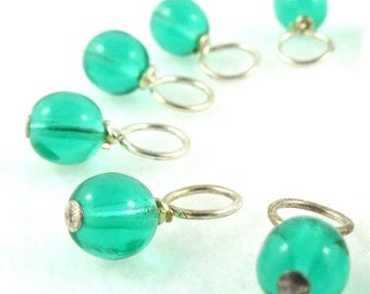 Tropical Lagoon Droplet Stitch Markers Knitting or Crochet (Choose Your Size - Set of 10)