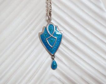Antique Nouveau Turquoise Enamel and Silver Shield Pendant