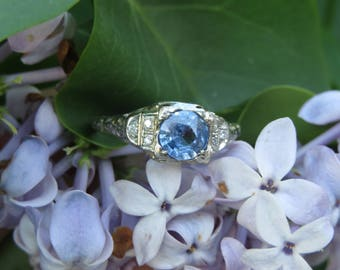 Deco 18K White Gold Sapphire and Diamond Solitaire Ring