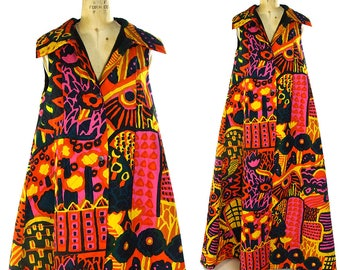 RARE 70s Marimekko Duster / Vintage 1970s Quilted Cotton Collectible Finnish Designer Maxi Length A-Line Vest / Psychedelic Print Caftan