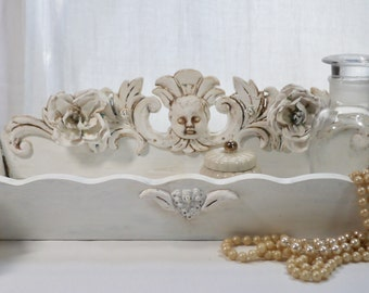 French Inspired Vanity Tray - Wonderful Shabby Chic Piece- Hand Made Elements - Farm Chic - Les Trés Chic Collection-